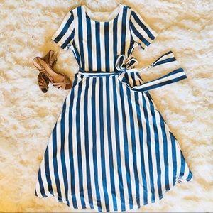 NWT.  Reborn J.  Dayten Striped Midi Dress